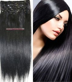 """62.11$  Buy now - http://alicr7.worldwells.pw/go.php?t=383755930 - """"16""""""""-32'' 10pcs Set 100% Brazilian Remy Hair Clip In/on Human Hair Extensions #1 Jet Black 120g 140g 160g 180g 200g 220g"""" 62.11$"""
