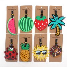 Fashion Fruits Travel Tags - Sunny Days Away Travel Store, Vacation Travel, Christmas Markets Europe, Travel Tags, Silica Gel, Travel Accessories, Label, Holiday Decor, Adventure Holiday