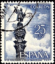 Spain, TOURISM TYPE OF 1964.  COLUMBUS MONUMENT,  BARCELONA.  Scott 1280 A298,  Issued 1965, Engr., Perf. 13, 25. /ldb.