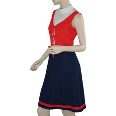 1960's Vintage Blue and Orange Double Knit Dress offered by Ruby Lane shop Breezy Bluewillow