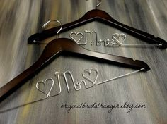 Mr and Mrs Hangers Wedding Dress Hangers by OriginalBridalHanger, #WeddingDressHangers #MrandMrsHangers, $40