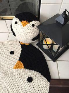 Crochet el pingüino alfombra alfombra de ganchillo sala