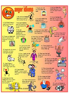 Idioms for Anger Poster + B&W + Worksheet + KEY - English ESL Worksheets for distance learning and physical classrooms English Fun, English Writing, English Study, English Words, English Lessons, English Grammar, Teaching English, Learn English, English Language