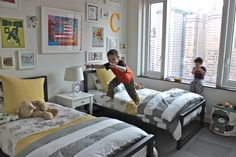 Boys Room Picture Design featuring Black Iron Platform Bed and Gray Fabric Bed…