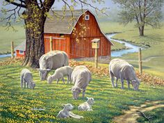 New Beginnings by John Sloane ~ grazing sheep on farm ~ early spring Country Art, Country Life, American Country, Country Living, Sheep Art, Farm Art, Art Pictures, Photos, Country Scenes