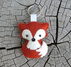 Wool Felt Fox Keychain Red Brown Fox Keychain Plush Fox
