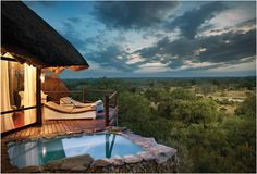 Leopard Hills is a stunning retreat built on a hill with superb views overlooking Sabi Sand game reserve in South Africa