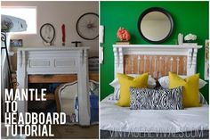 Mantle To Headboard Tutorial - Vintage Revivals Diy Nursery Furniture, Furniture Making, Pallet Furniture, Cheap Home Decor, Diy Home Decor, Diy Headboards, Headboard Ideas, Mantel Headboard, Drawn Art