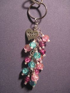 Pink Purple and Blue Crackle Glass Bead Purse Charm by FoxyFundanglesByCori, $10.00