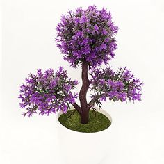 CLEVER BEAR Simulation Potted Artificial Trilateral Potted Decoration Household Desktop Plants Flower Purple ** Read more  at the image link.