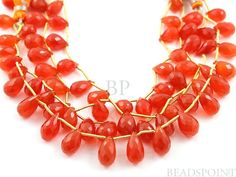 Natural  NO TREATMENT Carnelian Micro Faceted Tear by Beadspoint, $26.95