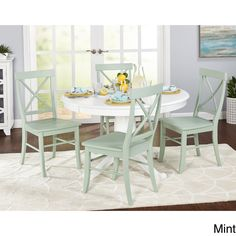 Beachcrest Home Stock Island 5 Piece Solid Wood Dining Set Chair Color: Mint, Table Color: White Kitchen Dining Sets, Dining Room Bar, Small Dining, Dining Room Design, Dining Table, Dining Area, Dining Rooms, Kitchen Tables, Dining Chairs