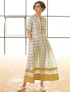 Buy Cream vy Navy Box Pleated Handloom Ikat Cotton Dress M Online at Jaypore.com