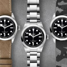 """TUDOR Black Bay 36: 1 watch, 3 moods ➡️ """"catch them all!"""" Available on steel or leather bracelet, always coming with its additionnal fabric strap"""