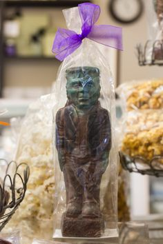 Frankenstein has never looked so good! A solid chuck of handsome chocolate, our three-dimensional Frankie weighs 9 ounces and stands 7 inches tall.