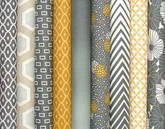 Half Yard Bundle of 9 from the Simply Style Collection in Yellow and Gray by V & Co for Moda