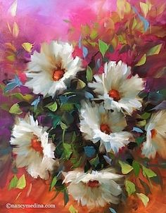 Pinkberry Daisies - Flower Paintings by Nancy Medina, painting by artist Nancy…