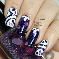 bf063be8dc3 Abstract Nail Art over Colors by Llarowe I Need A Holo-Day and Purple Rain