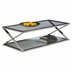 """Sunpan Modern Home,Two-tiered glass coffee table with an x-shaped stainless steel frame.           Product: Coffee table    Construction Material: Glass and stainless steel    Color: Silver and clear    Features:   X-shaped frame    Two tiers      Dimensions: 16"""" H x 55.25"""" W x 27.5"""" D"""