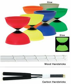 """Finesse Diabolo Glow-in-the-Dark w/ Wood Sticks by Mister Babache. $59.95. The size of the Finesse model is considered the standard, preferred by most experienced diaboloists. The 5"""" diameter strikes the optimal balance between a size large enough for good visibility without being too large for complex moves. Well balanced and very durable, manufactured in lightweight, flexible translucent elastomer. Polyamid center cones for greater wear. Parts are matched before assembly to ass..."""