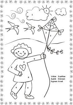 color by number spring | Crafts and Worksheets for Preschool,Toddler and Kindergarten