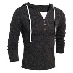 Mens Casual V-neck Buttons Knitted Hooded Sweater Solid Color Long Sleeve Pullover