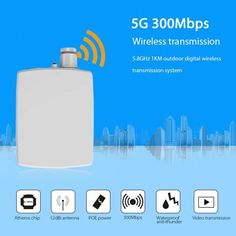 5G 300Mbps short range 300-1000m wireless video transmisssion equipment with 12dBi antenna, easy installation and make the total cost lower than wire CCTV monitoring.