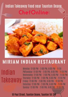 Miriam Indian Restaurant offers delicious Indian Food in Taunton Deane, Taunton Browse takeaway menu and place your order with ChefOnline. Order Takeaway, Restaurant Order, Indian Food Recipes, A Table, Menu, Fresh, Vegetables, Heart, Book