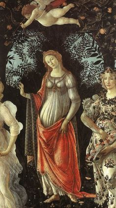 """Venus in her arch from Botticelli's Primavera (painting), 1482. """"Toward the center of a bower of love, the goddess of love herself, hand raised delicately in sweet salutation, beckons the beholder into her beflowered dream world, a pleasance or locus amoenus, a place of pleasure and beauty, of love past, indeed of ancient primordial love renewed as Zephyr pursues Chloris who is transformed into Flora before our very eyes."""" (Text by Paul Barolsky)"""