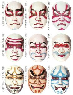 Kumadori - Stage makeup in Japanese Kabuki. Japanese Mask, Japanese Makeup, Oni Mask, Susanoo, Neue Tattoos, Art Japonais, Hobby Horse, Masks Art, Maquillage Halloween