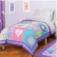 Girl Purple Pink Green Butterfly Heart Love Flower Twin Comforter & Sheet Set (4pc Set) by A.Kids. $69.52. Sequin embellishment on comforter face. Microfiber comforter reverses to purple and white polka dots. Dimensions: 72'' x 86''. 4pc Twin Set includes ONE Twin/Full Comforter and ONE 3pc Twin Sheet Set  Butterflies flutter in a garden full of hearts and flowers on this delightful comforter. This twin/full comforter is inspired by all of her fanciful dreams, but also m...