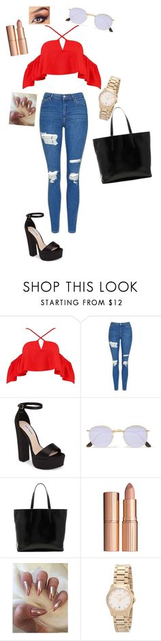 """""""Takie cudo """" by alicja222 ❤ liked on Polyvore featuring Boohoo, Topshop, Steve Madden, Ray-Ban, Gvyn, Charlotte Tilbury and Gucci"""