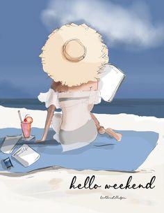 Bon Weekend, Hello Weekend, Cinema Tv, Illustrations, Happy Friday, Cute Art, Sketches, Art Prints, Drawings
