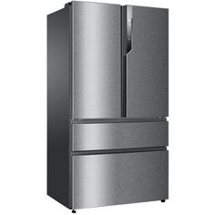This Haier American fridge freezer has a 685 litre capacity, No Frost technology, an automatic ice maker and a special My Zone drawer. Top Freezer Refrigerator, French Door Refrigerator, American Fridge Freezers, Steel Manufacturers, Ice Cube Trays, Safe Storage, Energy Consumption, Safety Glass, Refreshing Drinks