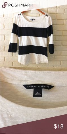 Banana Republic navy and cream boat neck Classic piece!  Navy and cream striped boat neck 3 quarter sleeve shirt. Banana Republic Tops Tees - Long Sleeve