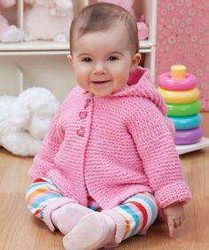 Cuddly babies should have a cuddly sweater like this one. It knits up quickly in pink for a precious little princess or in other colors for the special little prince. Instructions for buttons on either side are included.