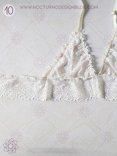 Costura fácil: Bustier en encaje. – Nocturno Design Blog Bustiers, Diy Bralette, Crochet Barbie Clothes, Design Blog, Lingerie, Refashion, Sewing Patterns, Camisole Top, Fancy