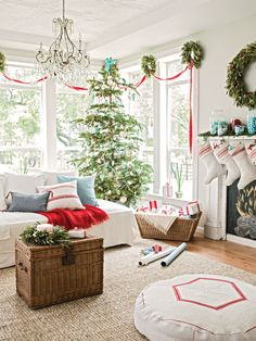 Red and white Christmas decor - grain sack stockings -- photo: Ray Kachatorian -- Better Homes and Gardens, December 2012