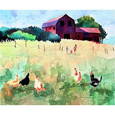 @Overstock - This watercolor pays tribute to barns which are gorgeous relics from the past. A walk in the tall grass, the chickens, and even the old broken down fence in this art print show us what 'Country Life' is really about.http://www.overstock.com/Main-Street-Revolution/Edward-Eugene-Wade-Jr.-Country-Life-Art-Print/5192163/product.html?CID=214117 $17.49