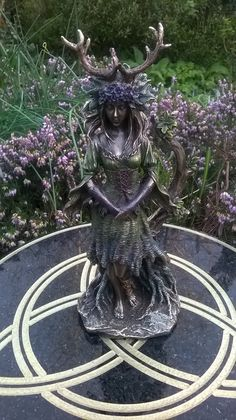 Lady of the Forest Statue Figurine Green Woman Bronze Witchcraft Wicca Pagan