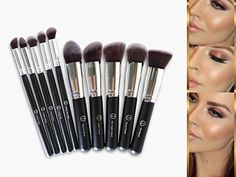 ZCollection Makeup Brush Set -Professional Kabuki Powder Blush Concealer Kit - Premium Synthetic Bristles-10 Piece Collection With Eye and Face Brushes - Perfect For Liquid, Cream or Minerals Products >>> Be sure to check out this awesome product.