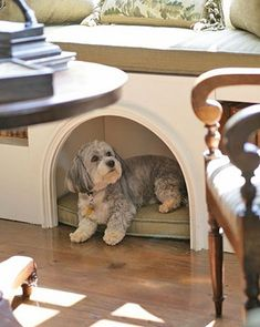 arched niche dog bed in kitchen window bench seating
