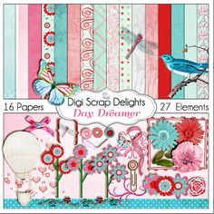 Digital Scrapbooking: Day Dreamer Scrapbook Kit (Pink, Red, Aqua) Buy 2 Items Get 1 Free Special