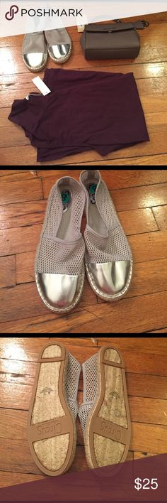 New W/out Box Silver Sam Edelman Lena Espadrilles Man-made upper. Slip-on design. Cap toe. Man-made lining. Lightly cushioned insole. Jute-wrapped midsole. Textured man-made sole. Approximate Measurements: Heel Height: 3⁄4 in Weight: 6 oz Platform Height: 1⁄2 in Circus by Sam Edelman Shoes Espadrilles