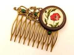 Mohn Haarkamm Blumen Haarschmuck im Antik Stil mit von Schmucktruhe