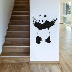 Banksy Panda avec des fusils mural Sticker autocollant