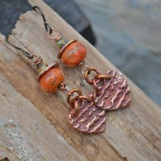 Copper and Lampwork Earrings on Etsy by KristiBowmanDesign