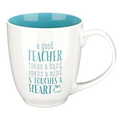 "Blue Blessings to the Teacher ""Touches a Heart"" Mug - 1 Corinthians 16:14 - Cool Kitchen Gifts"