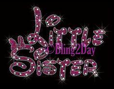 Little Sister Fuchsia Bow Iron on Rhinestone Transfer Hot Fix Bling Kids Mom | eBay