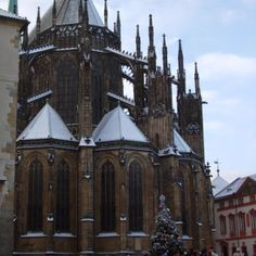 Cathedral Spires at Prague castle. Christmas 2014